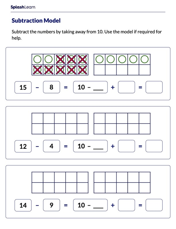 Subtract by Using Split Strategy on a Ten-Frame