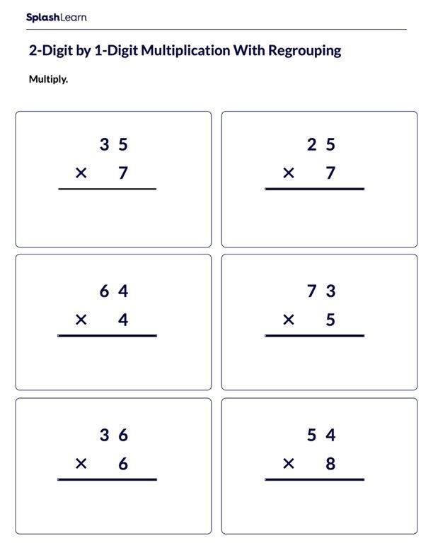 Multiply 2-Digit Number by 1-Digit Number
