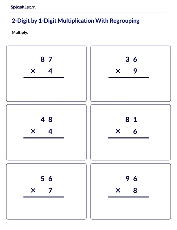 Regrouping in 2-Digit by 1-Digit Multiplication