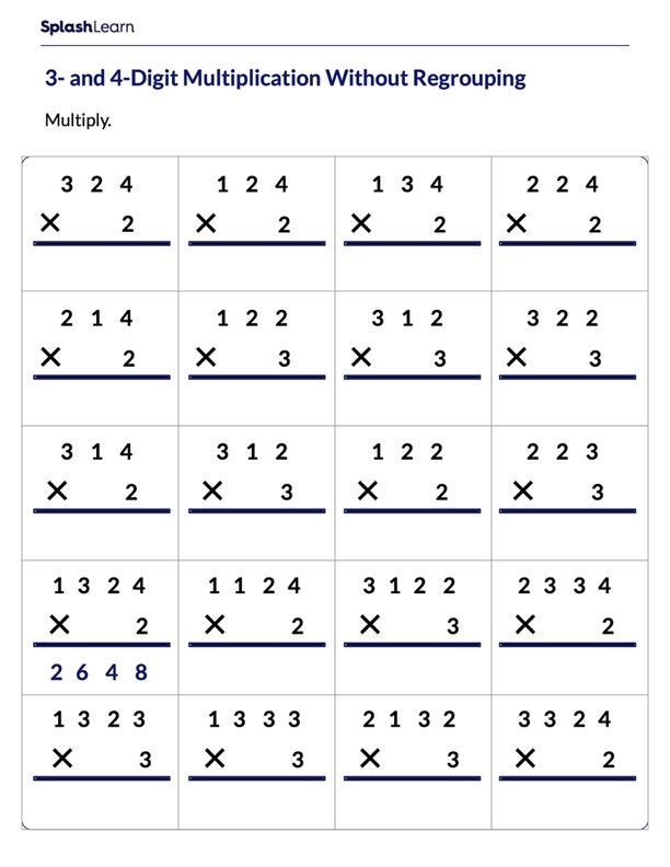 Multiply Multi-Digit Number by 1-Digit Number