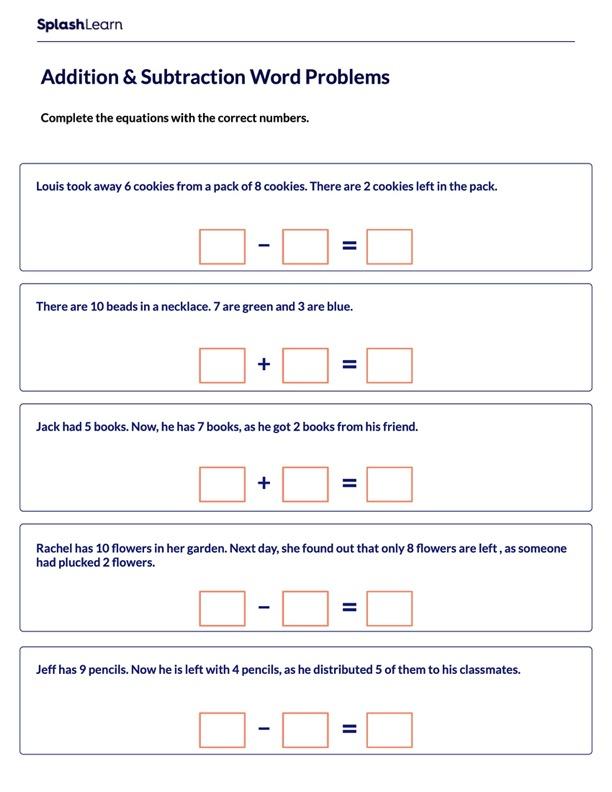 Represent the Scenarios Using Equations