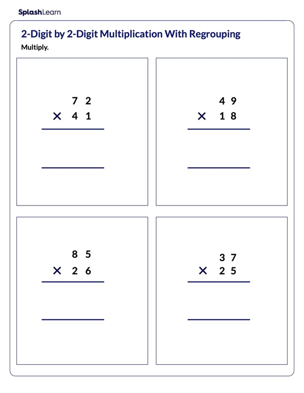Regrouping in Product of Two 2-Digit Numbers
