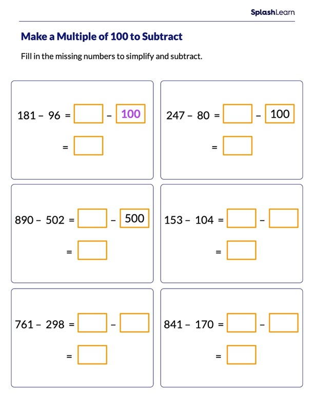 Subtract by Making a Multiple of 100