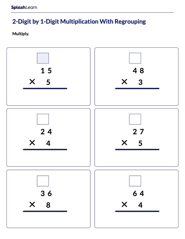 Multiply 2-Digit by 1-Digit with Regrouping