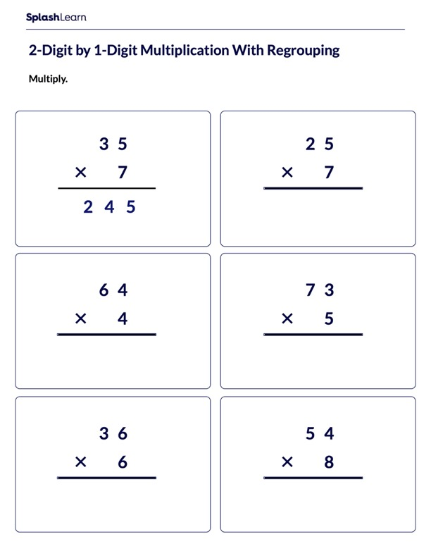 Multiply 2d by 1d with Regrouping