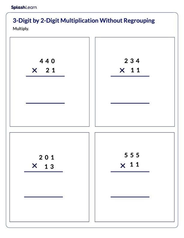 Multiply Multi-Digit Numbers Without Regrouping