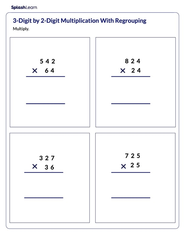 Multiply Multi-Digit Numbers With Regrouping