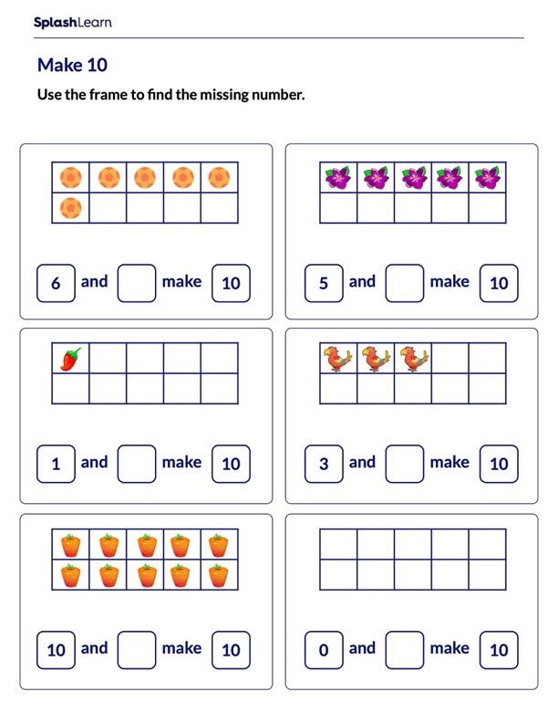 Find the Missing Number Using 10-frames