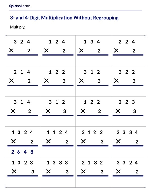 Multiply 3-Digit by 4-Digit without Regrouping