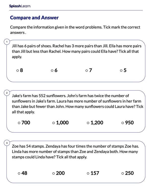 Multiply Compare and Answer
