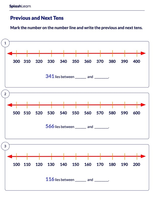 Mark the Previous and Next Tens on a Number Line